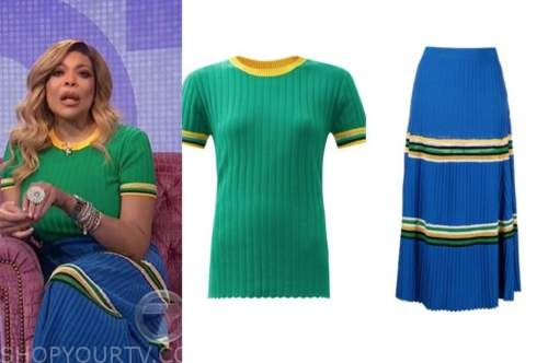 wendy williams, the wendy williams show, green knit top, blue knit striped skirt