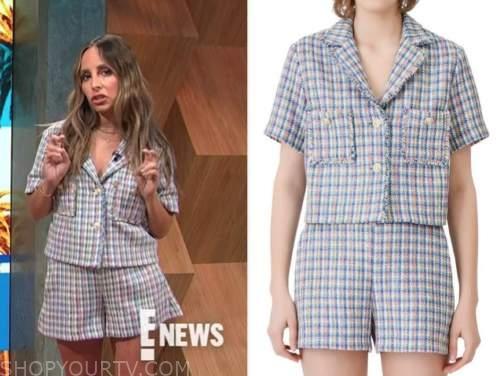 lilliana vazquez, E! news, daily pop, tweed jacket and shorts
