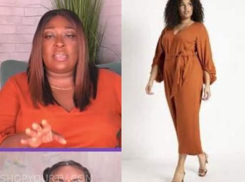 loni love, the real, orange jumpsuit