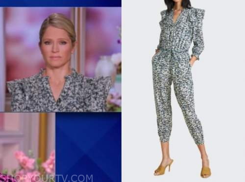 the view, sara haines, floral ruffle jumpsuit
