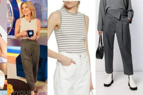 amy robach, good morning america, striped knit top, overlap buckle pants