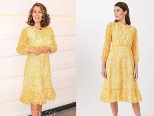 good morning britain, susanna reid, yellow printed dress