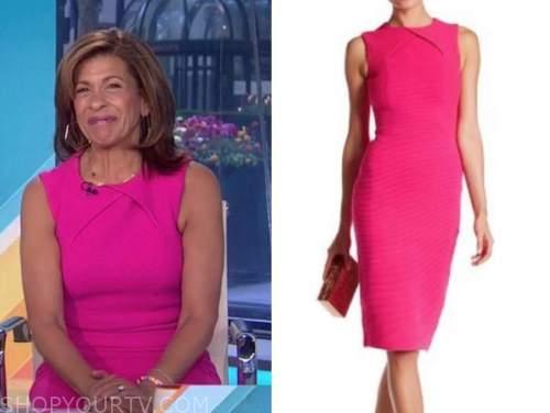 the today show, hoda kotb, hot pink sheath dress