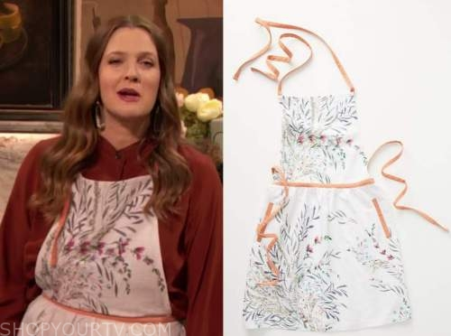 drew barrymore, drew barrymore show, white floral apron