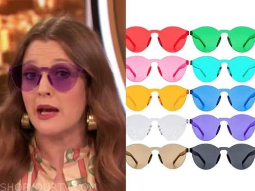 drew barrymore, drew barrymore show, rimless color sunglasses