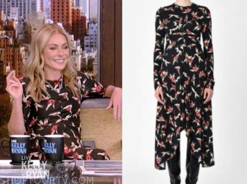 kelly ripa, live with kelly and ryan, black and red printed midi dress