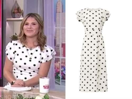 jenna bush hager, the today show, white and black polka dot midi dress