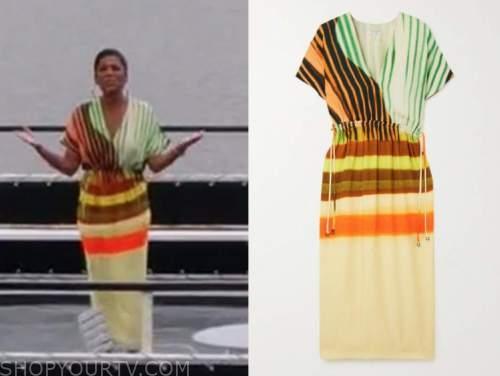 tamron hall, tamron hall show, striped multicolor dress