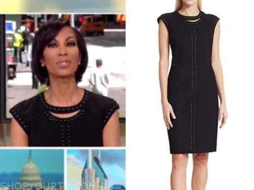 harris faulkner, outnumbered, black studded trim sheath dress