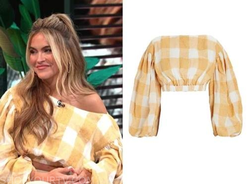 Chrishell Stause, E! news, daily pop, yellow check crop top