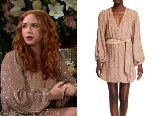mariah copeland, camryn grimes, the young and the restless, gold sequin wrap dress