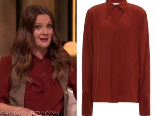 drew barrymore, drew barrymore show, rust red silk shirt