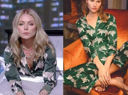kelly ripa, live with kelly and ryan, green tiger pajamas