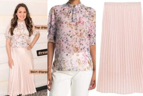 laura tobin, good morning britain, blush pink floral top and pink pleated skirt