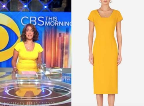 gayle king, cbs this morning, yellow square neck sheath dress