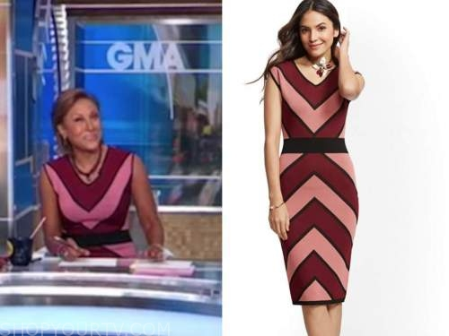 robin roberts, good morning america, pink and red chevron knit dress
