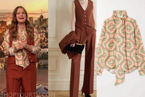 drew barrymore, drew barrymore show, red rust vest, rust pants, geometric blouse