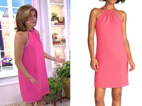 hoda kotb, the today show, hot pink bow halter dress