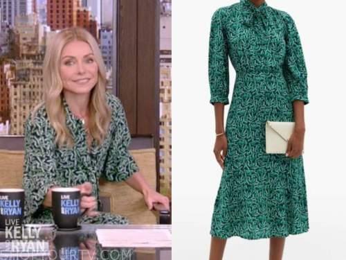 kelly ripa, live with kelly and ryan, green geometric midi dress