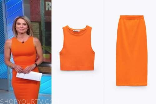 amy robach, good morning america, orange crop top and skirt