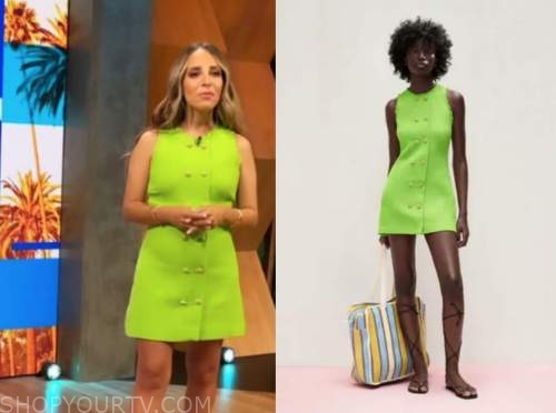 lilliana vazquez, E! news, daily pop, lime green tweed dress