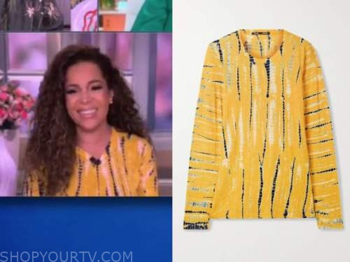 sunny hostin, the view, yellow tie dye knit top