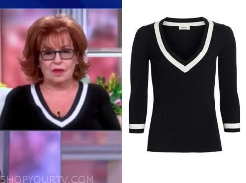 joy behar, the view, black contrast trim sweater