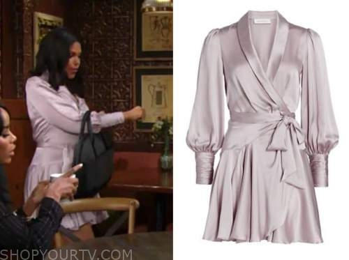 karla mosley, amanda sinclair, the young and the restless, purple satin dress