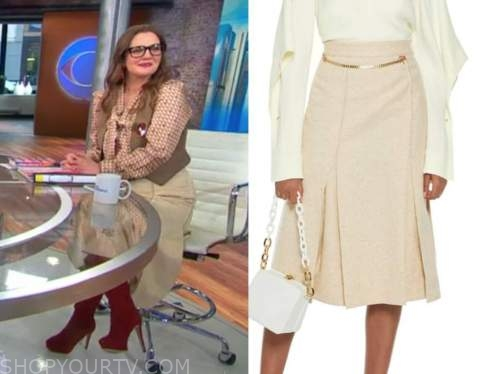 cbs this morning, beige chain skirt, drew barrymore
