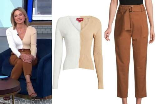 amy robach, good morning america, beige and white cardigan, brown pants