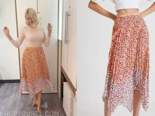 holly willoughby, this morning, floral pleated skirt