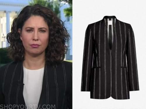 cecilia vega, good morning america, black stripe jacket