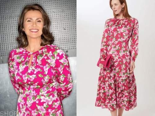 susanna reid, good morning britain, pink floral midi dress