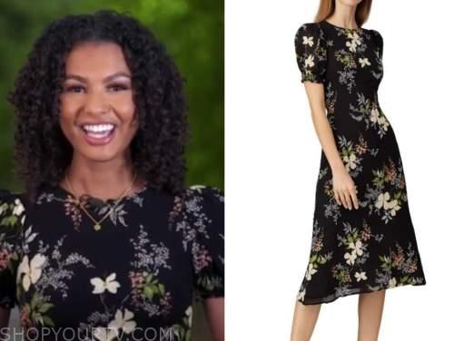 malika andrews, good morning america, black floral midi dress