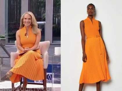 dana perino, orange pleated dress, america's newsroom