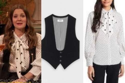 drew barrymore, drew barrymore show, black vest, polka dot tie neck blouse