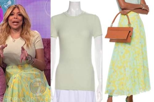 wendy williams, the wendy williams show, mint green top, yellow printed midi skirt