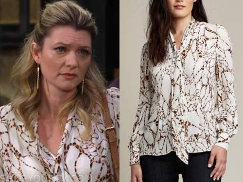 tara locke, Elizabeth Leiner, the young and the restless, white printed tie neck blouse
