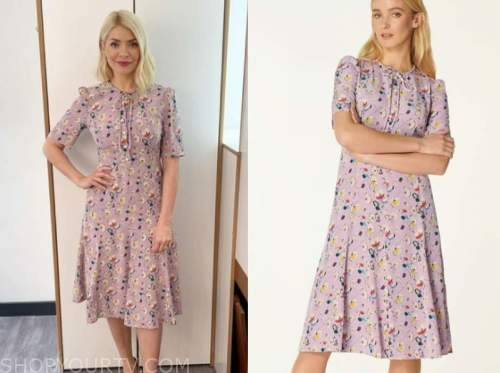 holly willoughby, this morning, purple printed midi dress