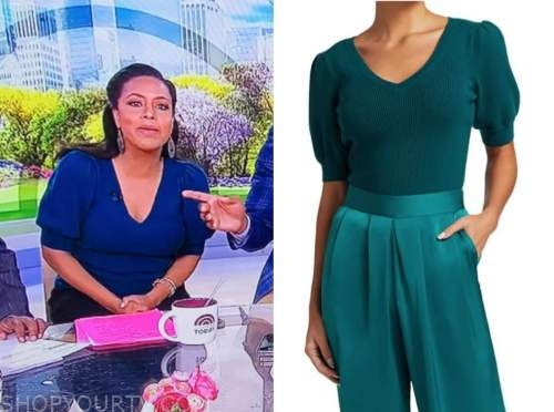 the today show, sheinelle jones, teal short sleeve sweater