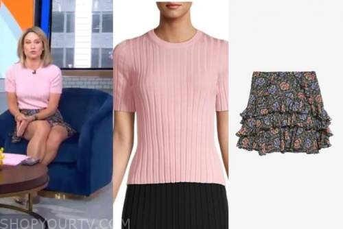 good morning america, gma3, amy robach, pink knit top, floral tiered skirt