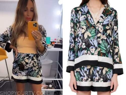 lilliana vazquez, E! news, daily pop, black floral top and shorts