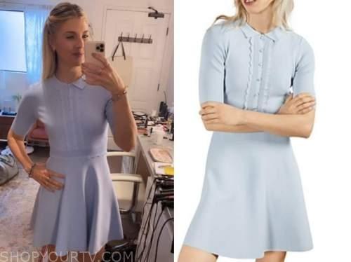 the talk, amanda kloots, blue knit dress