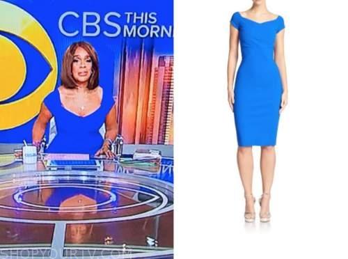 cbs this morning, blue sheath dress, gayle king