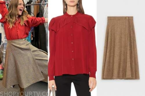 drew barrymore, drew barrymore show, red blouse, plaid skirt