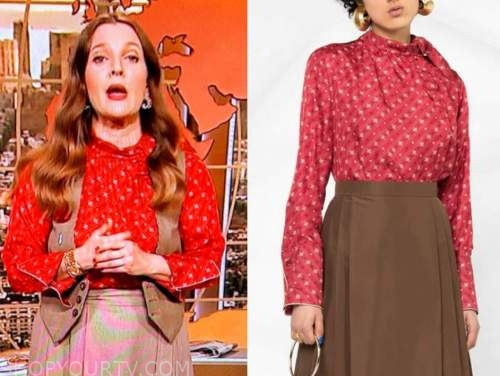 drew barrymore, drew barrymore show, red printed tie neck blouse