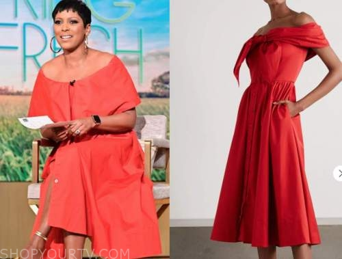 tamron hall, tamron hall show, red off-the-shoulder dress