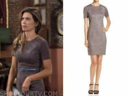 victoria newman, amelia heinle, the young and the restless, grey suede sheath dress