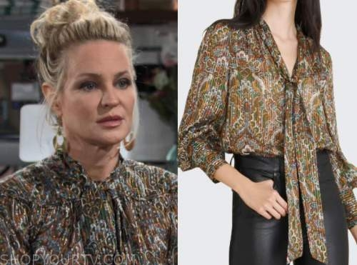 sharon newman, sharon case, the young and the restless, metallic tie neck blouse