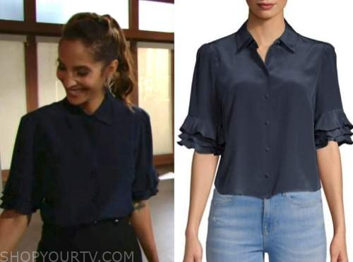 lily winters, christel khalil, the young and the restless, navy blue ruffle sleeve top